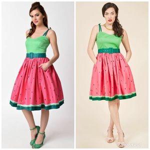 COLLECTIF Jade Watermelon Swing Dress Retro Pink